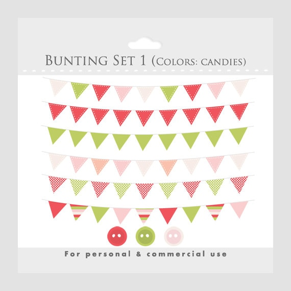 Bunting Banner Clipart For Digital Scrapbooking Flag Clip Etsy