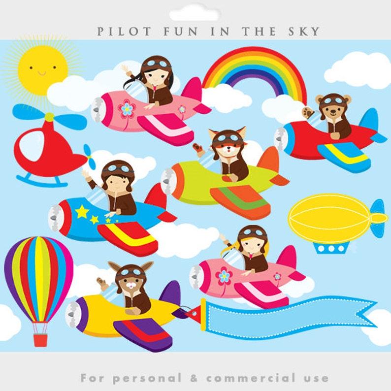 Little pilots clipart pilot clip art airplane airplanes   Etsy