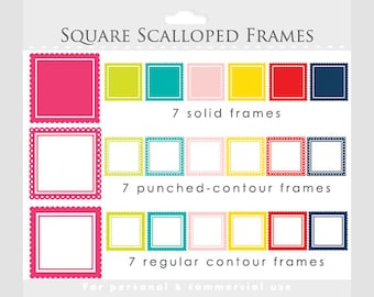 Square scalloped frames clipart - square frames for collages, digital scrapbooking - red, pink, blue, green, for personal and commercial use