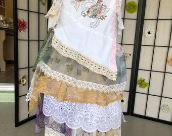 02694a148 Beach Wedding Oak /Cowgirl /Western bridal vintage inspired tattered layered  ruffled Stevie Nicks Style Wrap skirt Fits M /L /XL/1X