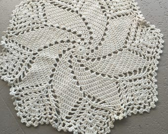 Ivory crocheted area rug
