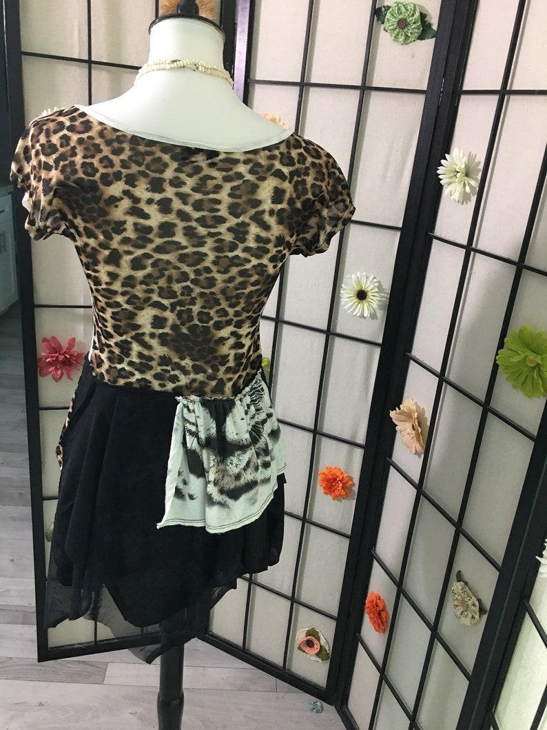 Stevie Nicks style Leopard print altered couture tattered boho toptunicdress size:SM