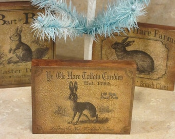 Wood Plaque Bunny/Candle Plaque