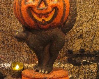 Paper mache Pumpkin on Cat w/Trick/Treat
