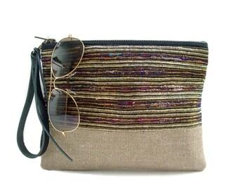 Clutch Purse, Boho Wristlet, Casual Woven Clutch Bag