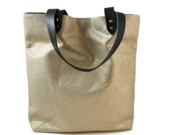Woven Tote Bag in Metallic Gold Linen