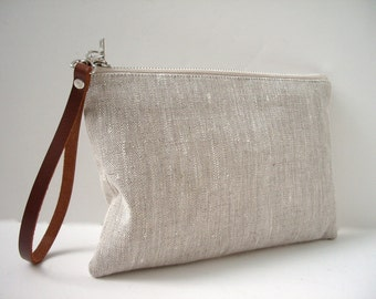 Wristlet, Simple Clutch Bag, Linen Clutch, Natural Linen Bag, Simple Purse, Summer Clutch