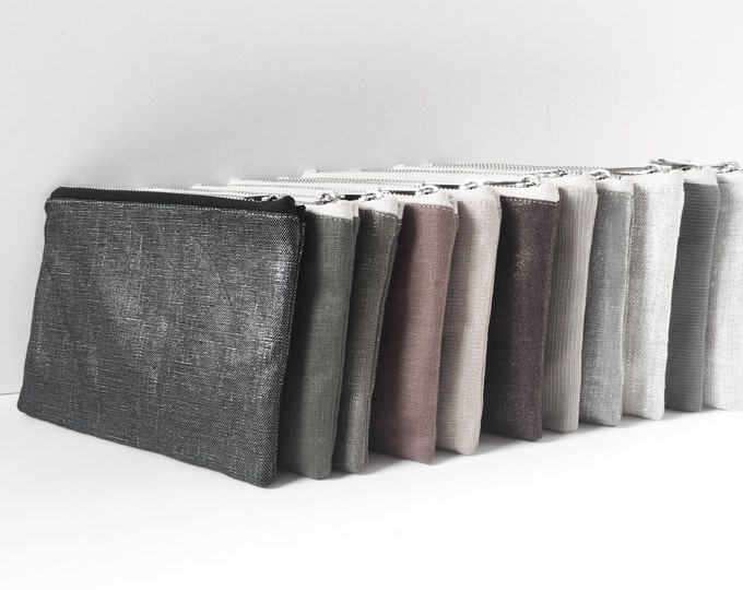 Small Zippered Pouch, Mini Clutch, Small Linen Clutch Bag