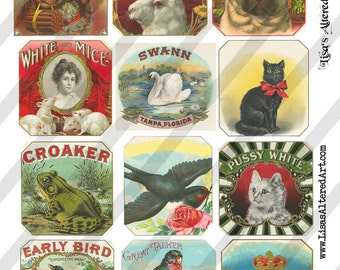Digital Collage Sheet Vintage Animal Label Images (Sheet no. O122) Instant Download