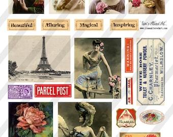 Digital Collage Sheet  Ephemera and Lady Images  (Sheet no. O174) Ephemera-Instant Download