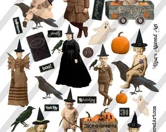 Digital Collage Sheet Vintage Halloween Images No. 3 (Sheet no. H17) Instant Download