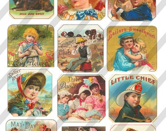 Digital Collage Sheet  Vintage Children Label Images (Sheet no. O168) Instant Download