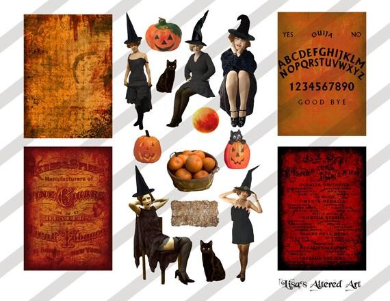 Sheet No.O133 Digital Collage Sheet Vintage Halloween Images Instant Download