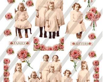 Digital Collage Sheet Vintage Children group Images With Roses (Sheet no. O178) instant Download