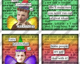 Digital collage sheet  1.5 X 1.5  Slides  Fariy Godmother's  (Sheet no. FS188) Instant Download