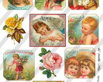 Digital Collage Sheet Vintage Label Images (Sheet no. O36) Instant Download