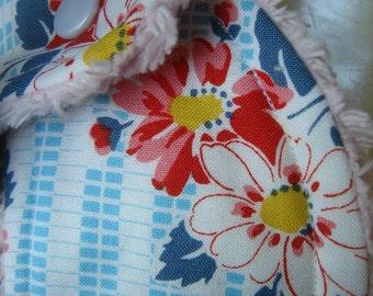 Feedsack Floral Chenille Bib