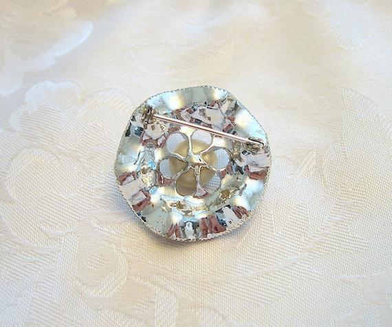 Vintage Circular Brooch Rhinestone Crystal Faux P… - image 5