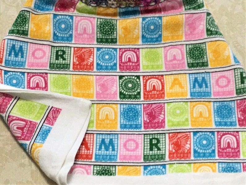 AMOR SAMPLER Extra Thick Double Layer Hanging Crochet Towel housewarming gift dish towel rainbow colors hand towel hostess gift