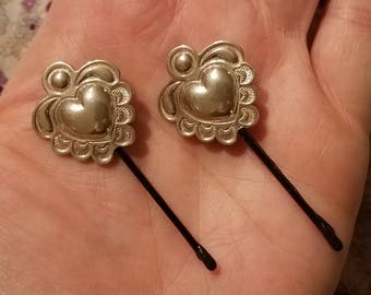 Vintage Sterling Silver Ornately Decorated Hearts Hairpin (Hair Pin, Bobby pins) Set