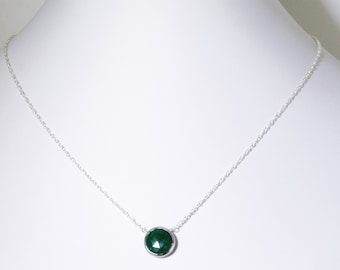 Green Emerald Necklace Genuine Emerald Adjustable Necklace Sterling Silver May Birthstone Real Emerald Precious Emerald BZ-P-105.2-Em/s