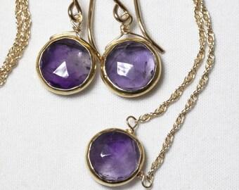 Genuine Amethyst 2-piece SET Adjustable Amethyst Necklace Real Amethyst Earrings Amethyst Jewelry February Birthstone BZ-SET-105.2-Am/g