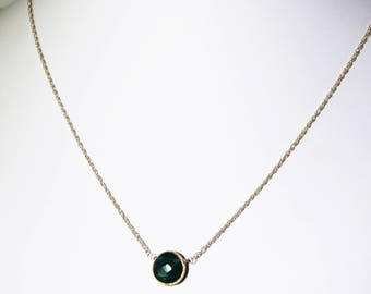 Green Emerald Necklace Adjustable Necklace 18k Gold Vermeil Precious Emerald Real Emerald May Birthstone Emerald Jewelry BZ-P-105.2-Em/g