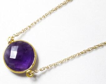 Purple Amethyst Necklace Adjustable Necklace 14k Gold Genuine Amethyst Real Amethyst February Birthstone Amethyst Jewelry BZ-N-152.2-Am/g