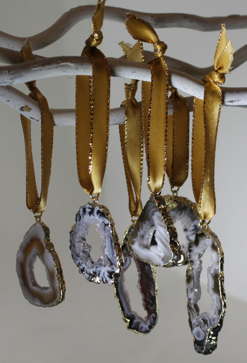 Agate Ocho Slice Ornaments One of a Kind Ornaments Geode Stone image 0