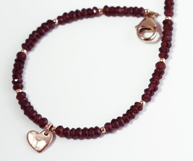 Red Garnet Rose Gold Charm Bracelet Genuine Garnet beaded image 0