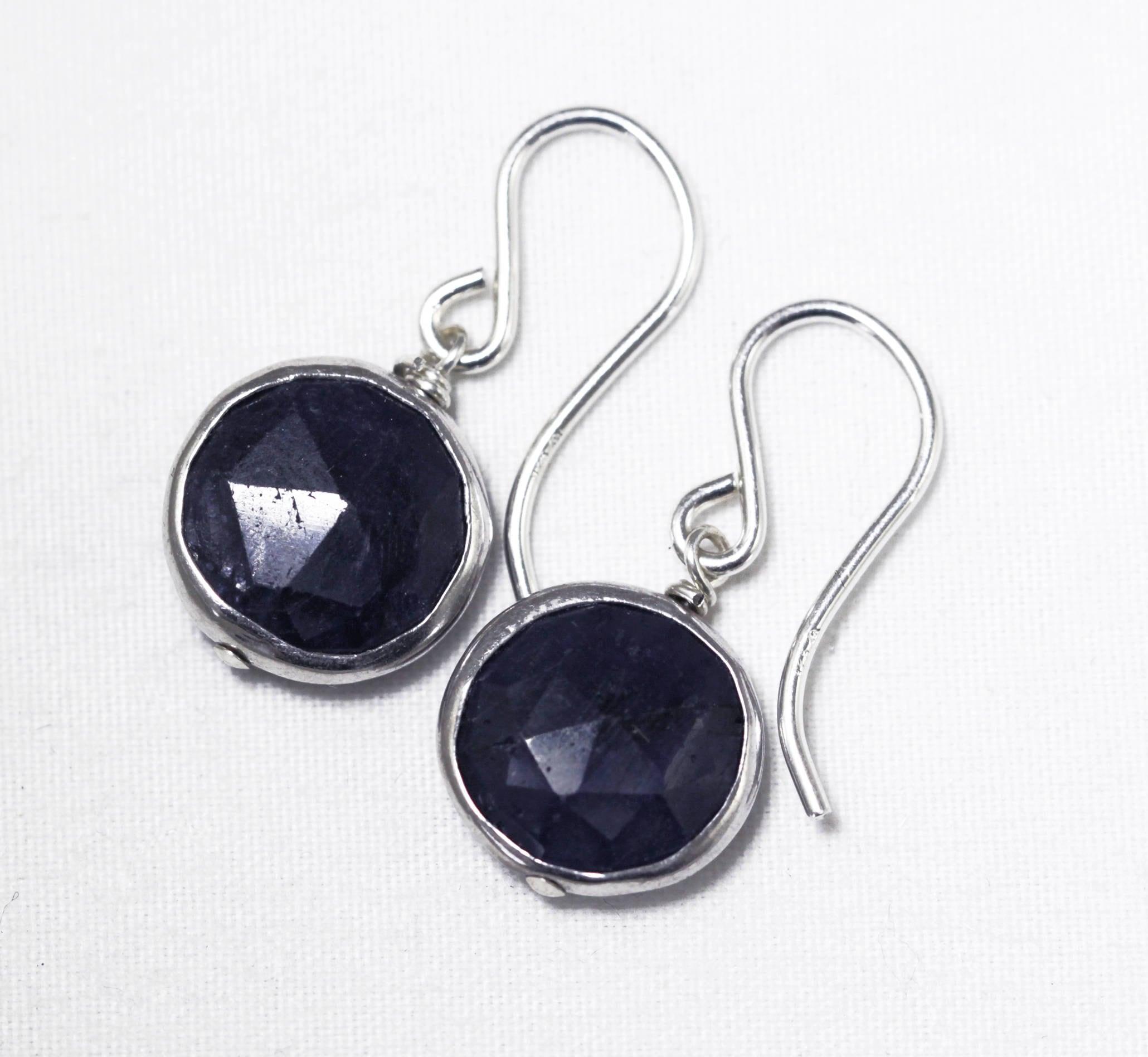 Blue Sapphire Earrings Genuine Sapphire Earrings Stering ...