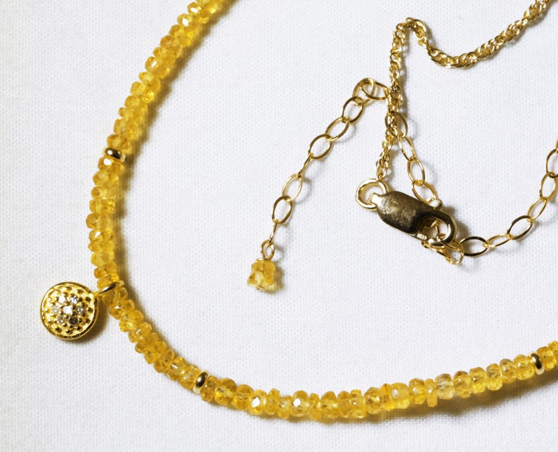 Yellow Sapphire Statement Necklace Genuine Sapphire Necklace image 0