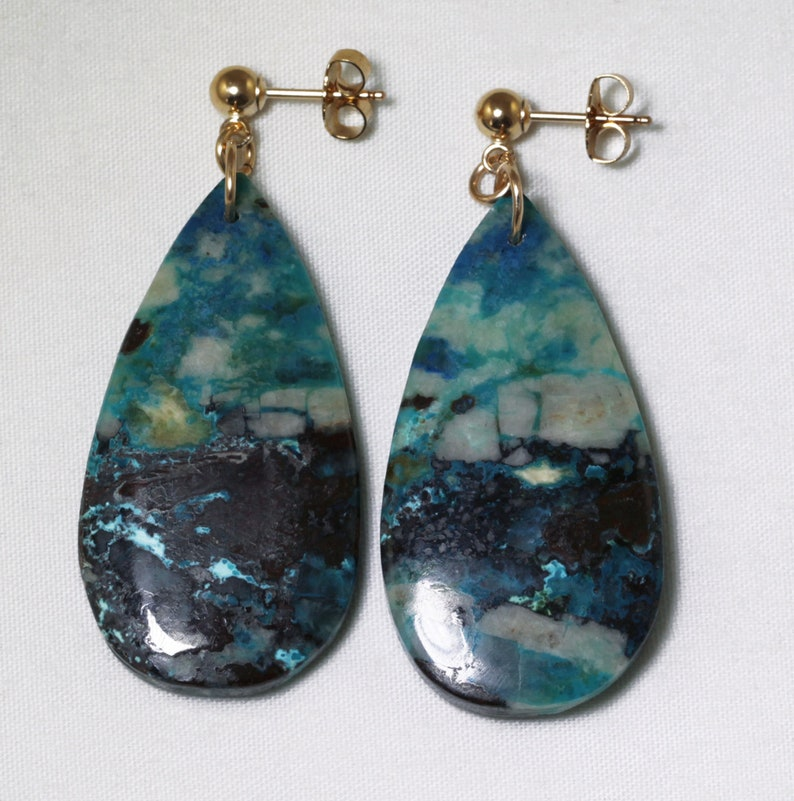 Chrysocolla Natural Stone Earrings One of a Kind Stones Unique image 0