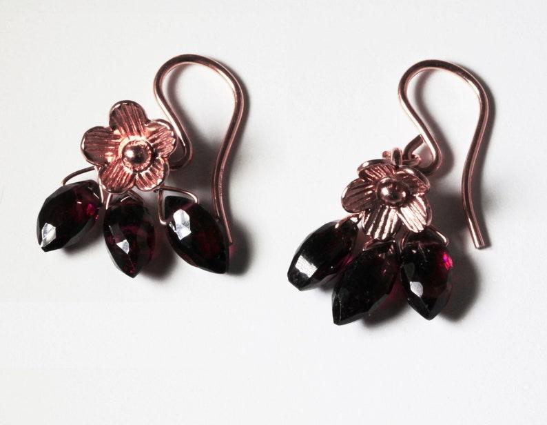 Garnet and Rose Gold Charm Earrings Genuine Red Garnet Rose image 0