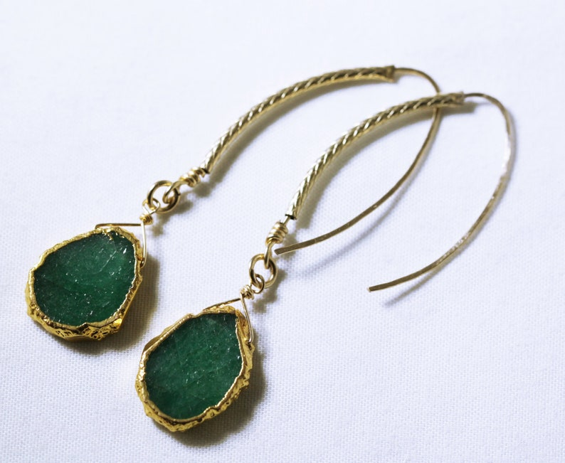 Green Emerald Earrings Freeform Real Emerald Gold Patterned image 0