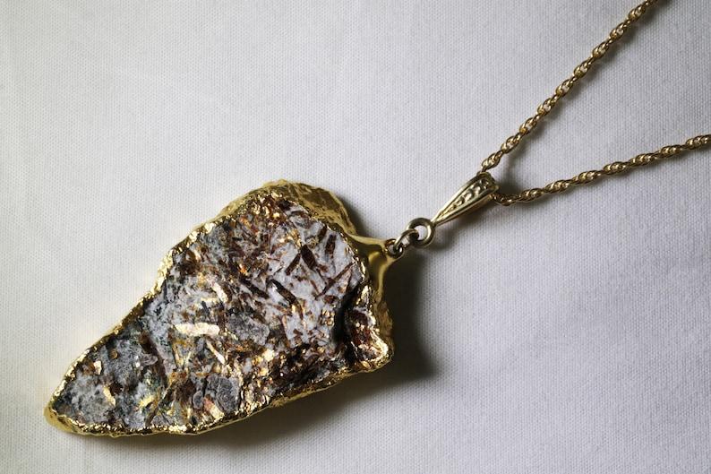 Rare Golden Astrophyllite Pendant Raw Stone Pendant image 0