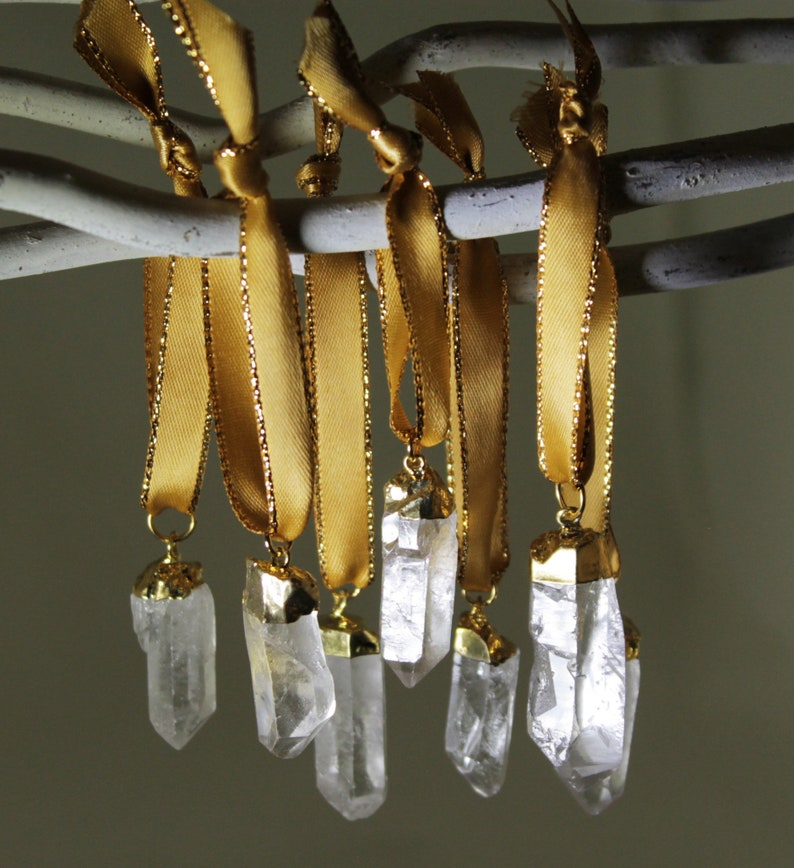 Crystal Ornaments One of a Kind Crystal Point Ornaments Quartz image 0