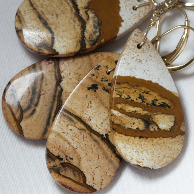 Landscape Jasper Natural Stone Earrings One of a Kind Stones image 0