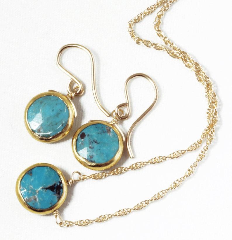 Genuine Turquoise 2-piece SET Adjustable December Birthstone image 0