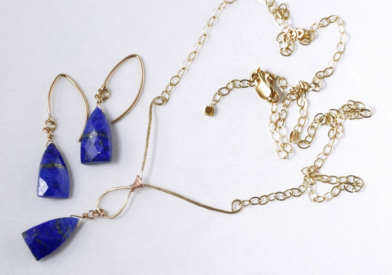 Lapis Lazuli Nugget 2-piece Jewelry Set Hand Hammered Y image 0
