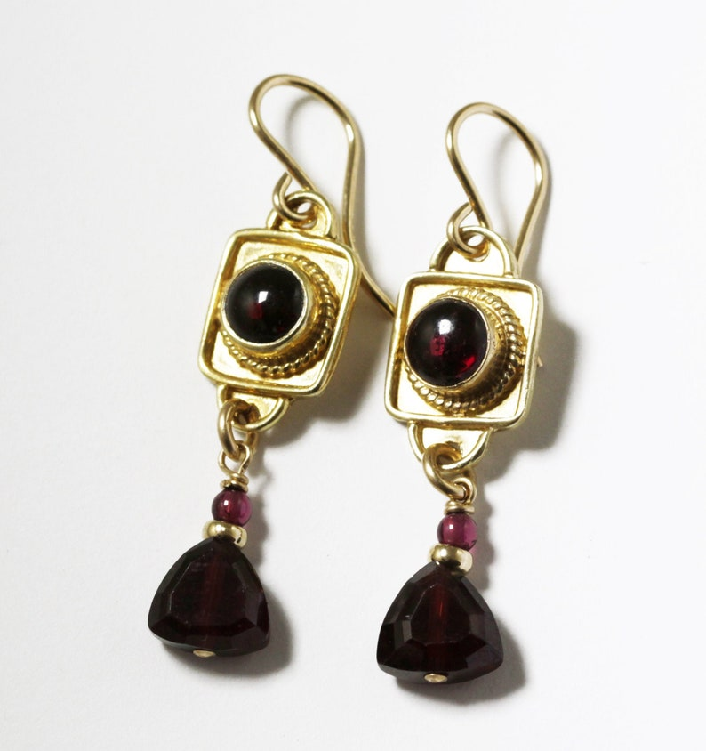 Garnet Dangle Earrings Genuine Red Garnet Earrings Garnet image 0