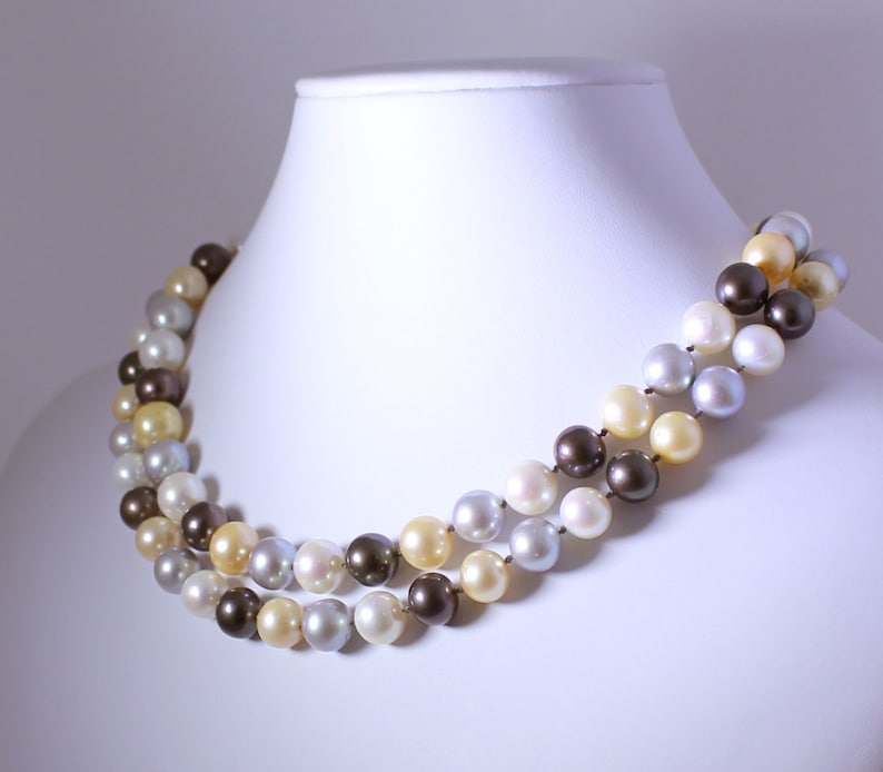 Multi-Color Pearl Necklace June Birthstone Necklace Pearl image 0