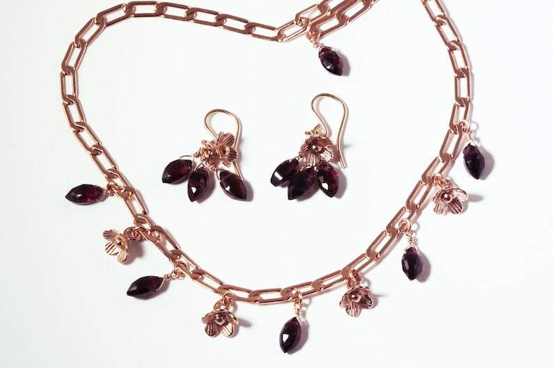 Garnet Rose Gold Hill Tribe Flower & Garnet Briolette Charm image 0