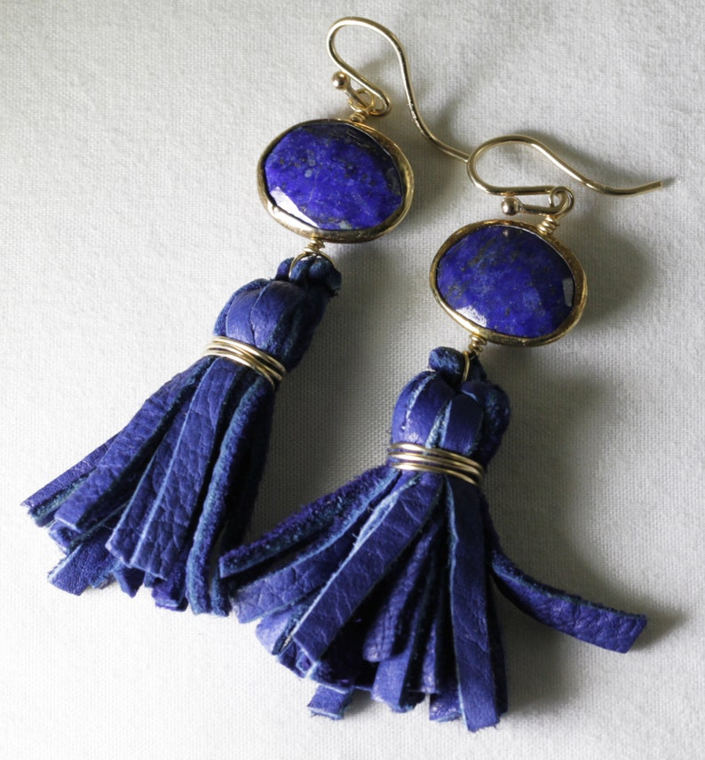 Lapis & Leather Tassel Dangle Earrings Genuine Blue Lapis Long image 0