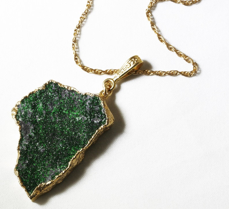 Rare Green Garnet Uvarovite Pendant Green Garnet Necklace Raw image 0
