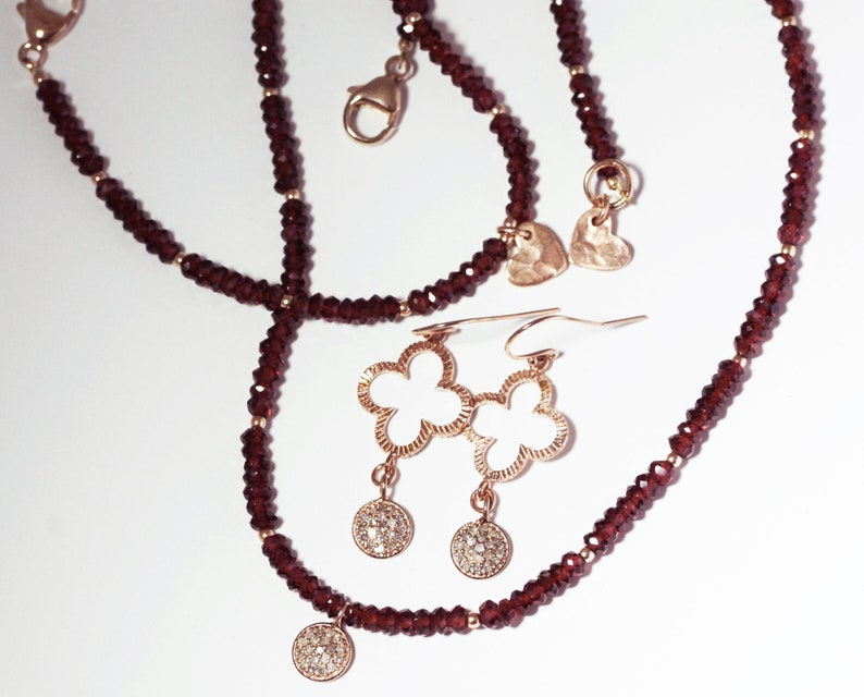 Garnet Diamond Rose Gold Necklace Faceted Garnet Strand image 0