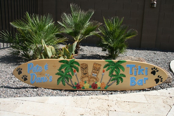 Surfboard Wall Art Tiki Bar Sign, Tiki Patio Decor