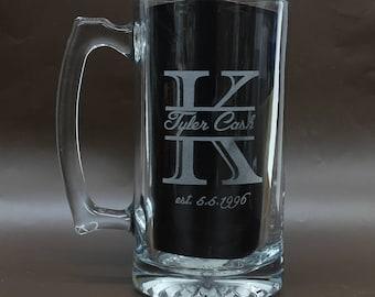 engraved beer mug regal split letter monogrammed beer etsy