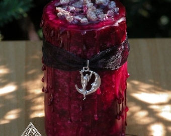 Blood Moon Lunar Alchemy Witches Alchemy Candle . Dark Earthly Moonflower, Bladderwrack and More