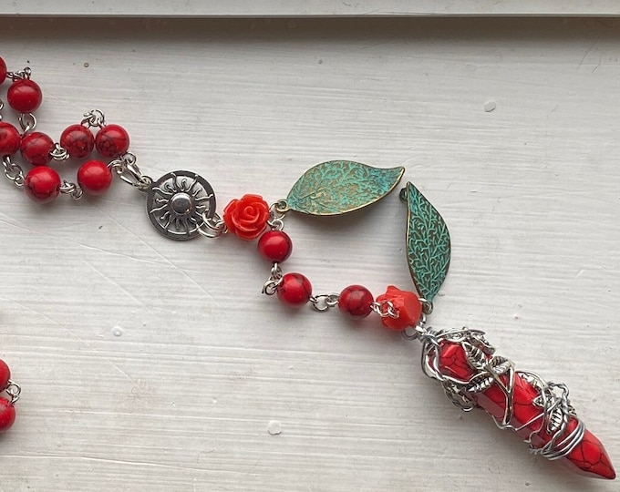Supernatural Rosary - Rowena Rosary - Red Howlite and Roses Wire Wrapped Rosary
